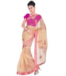 Buy Cream plain net saree with blouse supernet-saree online