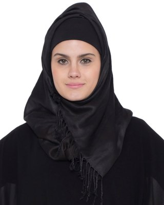 Black Plain Rayon Stitched Hijab
