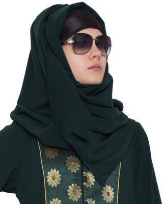 Green Plain Nida Stitched Hijab