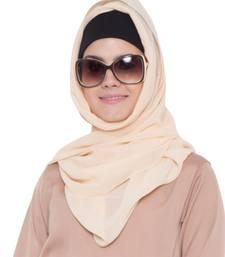 fawn plain georgette stitched hijab