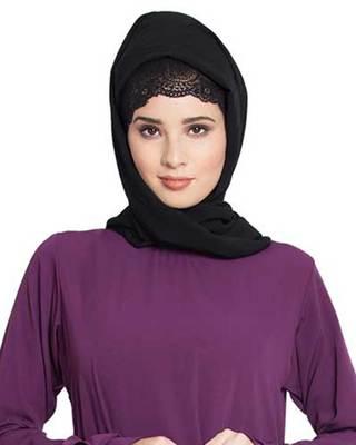 Black Plain Georgette Stitched Hijab