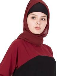 maroon plain georgette stitched hijab