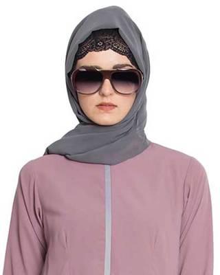 Grey Plain Georgette Stitched Hijab