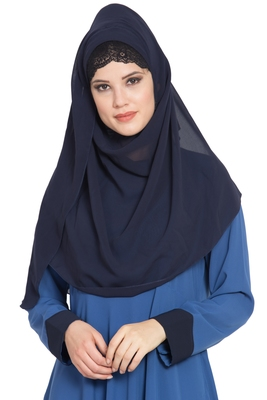 Blue Plain Georgette Stitched Hijab