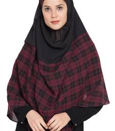 black plain georgette stitched hijab