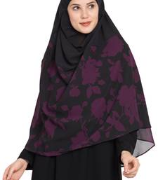 Black Printed Georgette Stitched Hijab