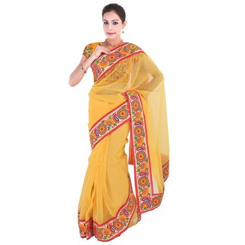 Yellow plain net  saree with blouse