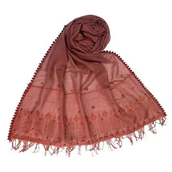 Light Maroon Embroidered Cotton Hijab
