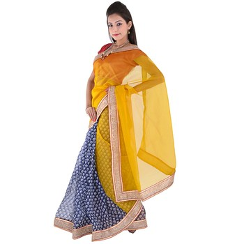 Golden plain net  saree with blouse