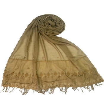 Brown embroidered cotton hijab