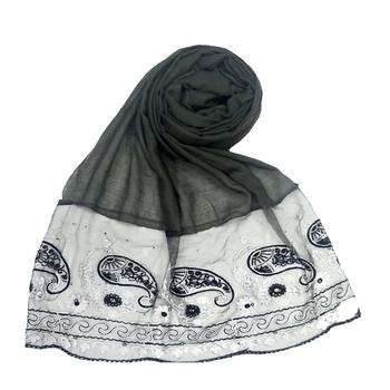 Dark Grey  Embroidered Cotton Hijab