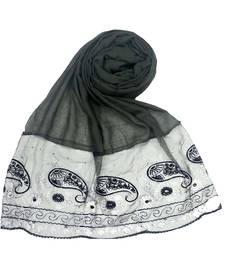 Dark grey  embroidered cotton hijab