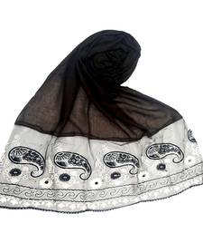 Dark brown embroidered cotton hijab