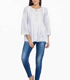 Buy White embroidered cotton chikankari-kurtis chikankari-kurtis online