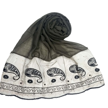 Grey Embroidered Cotton Hijab