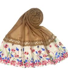Dark brown embroidered cotton hijab