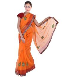Buy Orange printed net  saree with blouse net-saree online