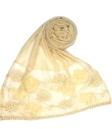 Light brown embroidered cotton hijab