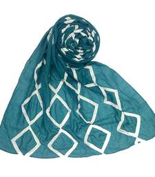 Teal Embroidered Cotton Hijab