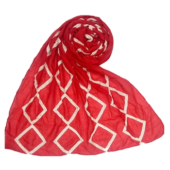 Red embroidered cotton hijab