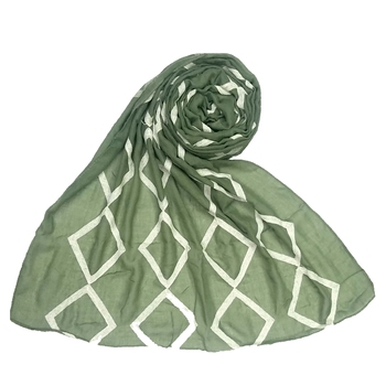 Green  Embroidered Cotton Hijab