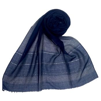 Dark blue embroidered cotton hijab