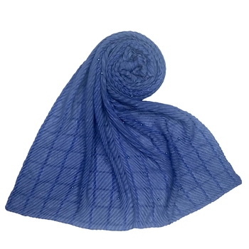 Blue  embroidered cotton hijab