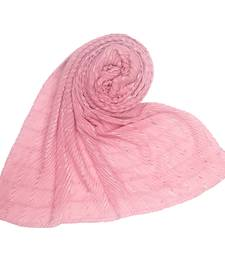 Pink embroidered cotton hijab
