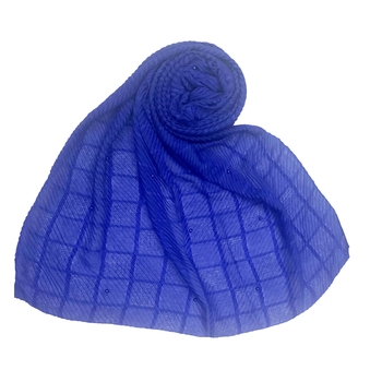 Royal blue embroidered cotton hijab