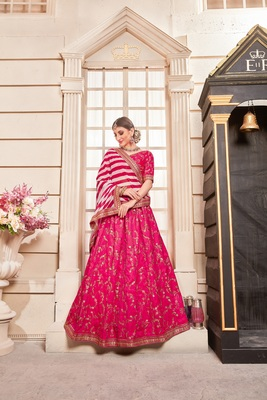 Rani-pink embroidered silk unstitched lehenga