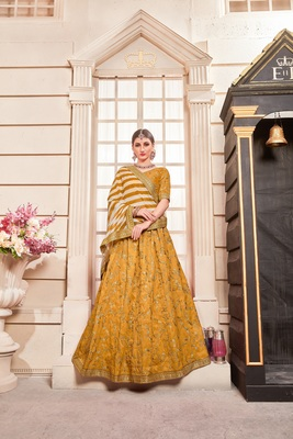 Dark-yellow embroidered silk unstitched lehenga