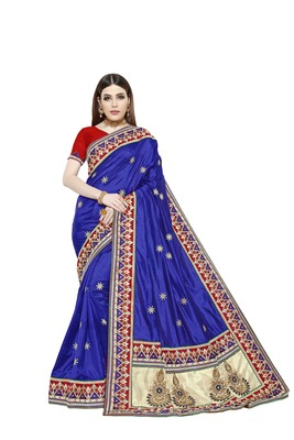 Dark royal blue embroidered art silk saree with blouse