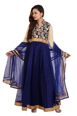 Navy blue embroidered art dupion silk salwar with dupatta