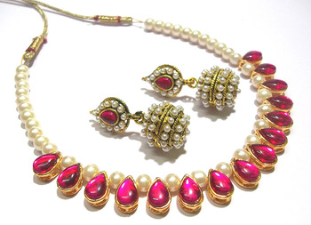 Dark Pink Kundan Pearl Gota Necklace Set