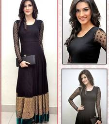 Buy black color plain with heavy border in bottom georgette fabric full stiched bollywood style suit readymade-suit online