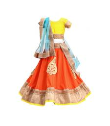 Peach embroidered brocade stitched lehenga
