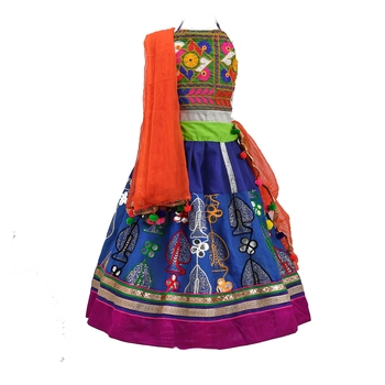 Electric-blue embroidered cotton stitched lehenga