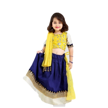 Dark-blue embroidered cotton stitched lehenga