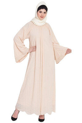 Nazneen Pearls Hand Work Halter Neck Peach Wedding  Abaya