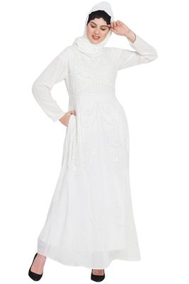 Nazneen Hand Embroidered Off White Wedding Abaya