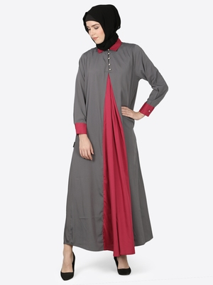 Nazneen Contrast Yoke Grey/Wine  Casual Abaya