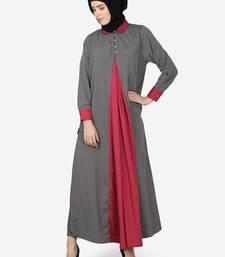 Nazneen Contrast Yoke Grey/Wine  Casual Abaya