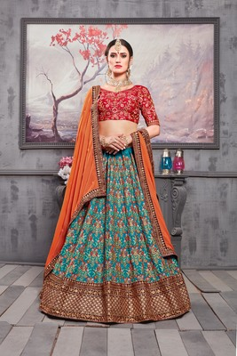 Sea Green Embroidered Silk Unstitched Lehenga