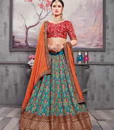 Sea-green embroidered silk unstitched lehenga