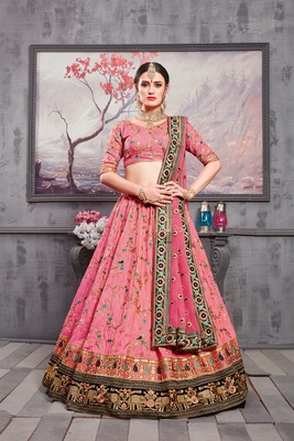 Light-pink embroidered silk unstitched lehenga