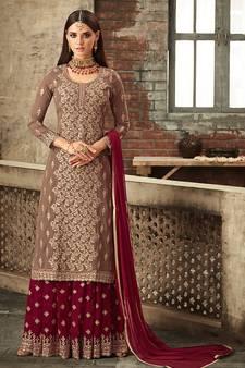 9f00f48af7e567 Brown embroidered georgette salwar