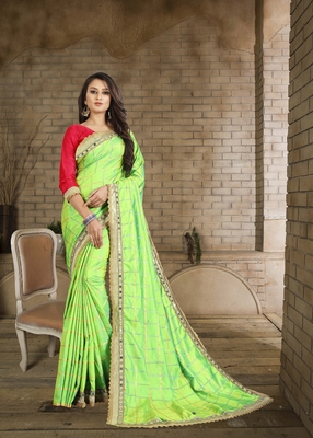 Light green embroidered pure silk saree with blouse