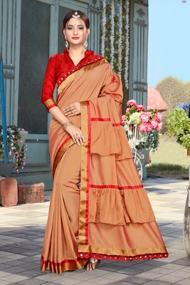 Brown embroidered pure silk saree with blouse