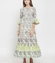 Indibelle Off-white woven cotton kurtas-and-kurtis