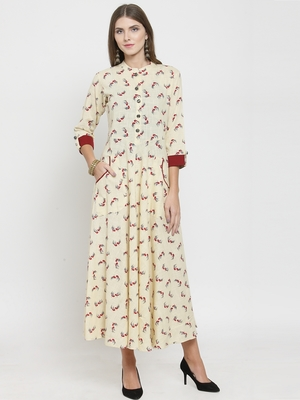 Cream woven cotton kurtas-and-kurtis